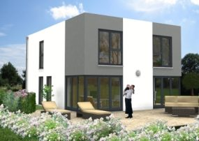 Bauhausvilla mit Farbakzenten in weiß und grau