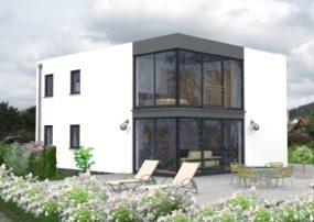 Bauhausvilla mit riesiger Verglasung über Eck in den Wohngeschossen