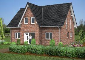 Klassisches Satteldachhaus mit rotem Klinker und Friesengiebel