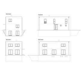 Einzelhaus, eingeschossiges Bauhaus, Kubusvilla, Zeichnung