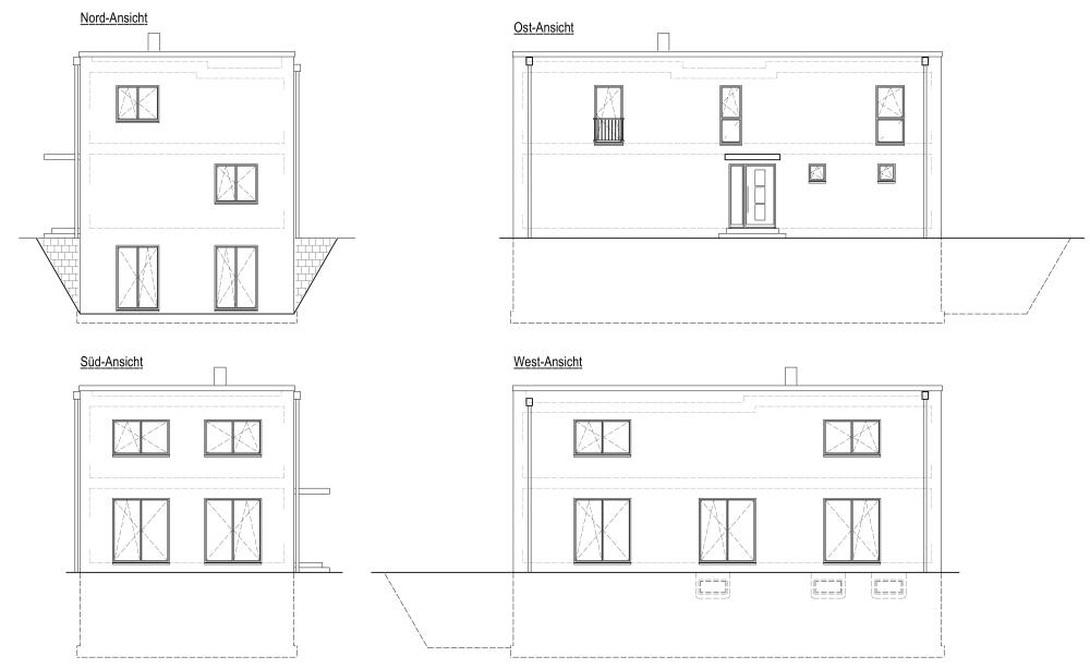 Bauhausvilla, Ansichten, eingeschossig