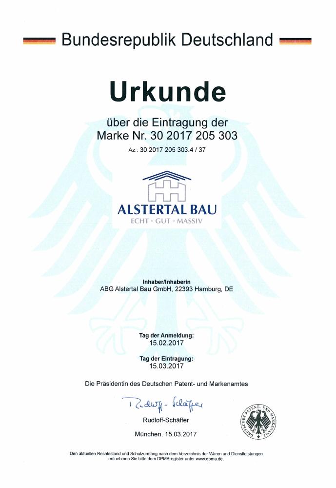 Urkunde eingetragene Marke deutsches Patent- und Markenamt
